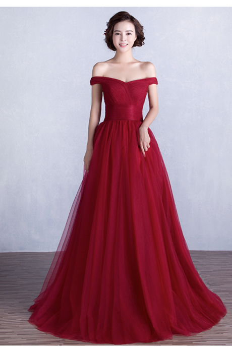 Pretty Burgundy Off the Shoulder tulle Long Prom Dress,Handmade Formal Women Evening Gown