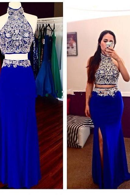 Sexy Royal Blue High Neck Beading Chiffon Long Prom Dress,Handmade Two Pieces Formal Evening Dress 2017