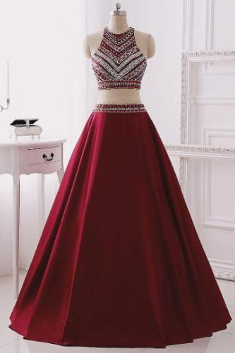 2017 New Burgundy Prom Dress,Handmade Beading Satin Two Pieces Long Prom Dress,Burgundy Evening Gown