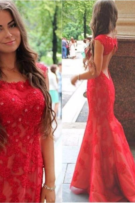 2017 Red Sexy Mermaid Prom Dress,Custom Made Cap Sleeve Backless Lace Formal Evening Dress