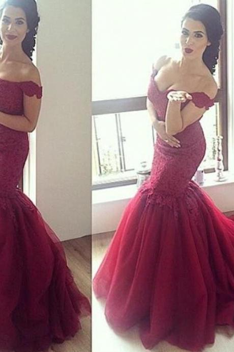 Burgundy Lace Prom Dress,Handmade Lace Tulle Off-Shoulder Mermaid Evening Gown 2017
