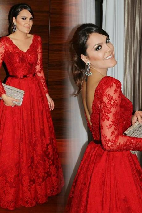 New Red Long Sleeves Sexy V-Neck Prom Dress Custom Made Lace Formal Women Evening Gowns 2017