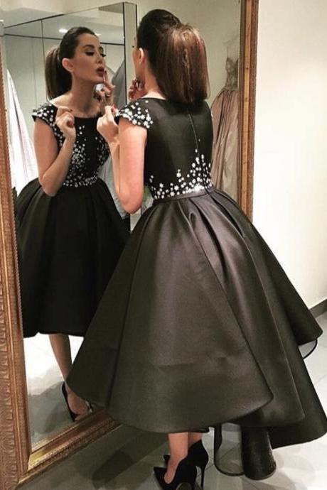 Pretty Black Hi-LO Ball gown Sleeveless satin Evening Dress, Custom Made Prom Dress 2017