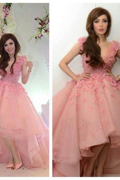 Beautiful Pink Hi-LO V-Neck Sleeveless Applique tulle Party Dress, Custom Made Prom/Evening Dress 2017