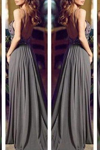 New Gray Beading Open Back Sleeveless Floor Length Chiffon Prom Dresses,Formal A-Line Evening/Party Dress