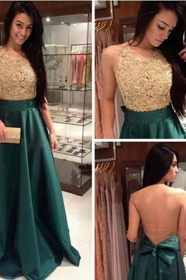 New 2017 Appliqued Lace Long Prom Dress Handmade A-Line Women Formal Evening Gowns