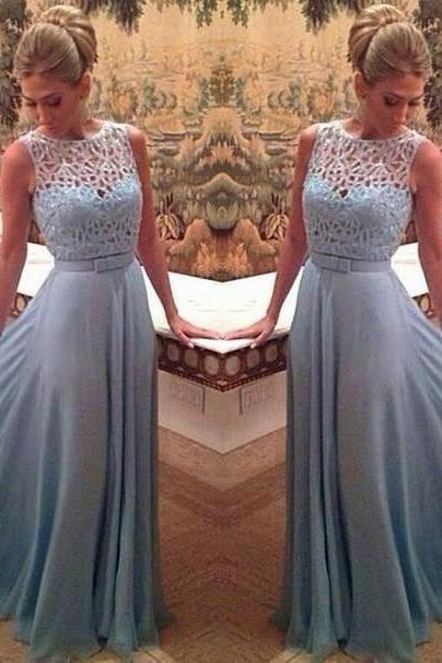 Fashion Cap Sleeve Chiffon Long Prom Dress Custom Made Light Blue Evening Gown 2017