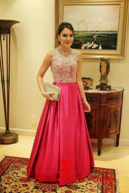 Sexy 2017 Custom Made A-Line Satin Long Prom Dress,Cap Sleeve Appliqued Lace Women Evening Gowns