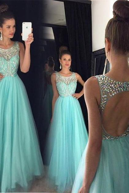 2017 Sexy Beading/Crystal Tulle Long Prom Dress Custom Made A-Line Formal Women Evening Gowns