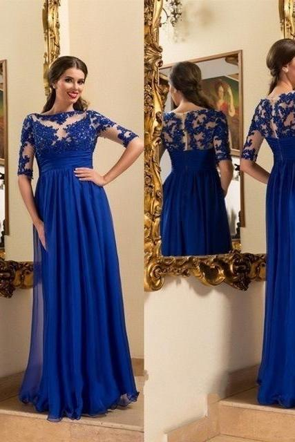 2017 Royal Blue Long Prom Dress Custom Made Half Sleeves Appliqued Chiffon A-Line Evening Gowns