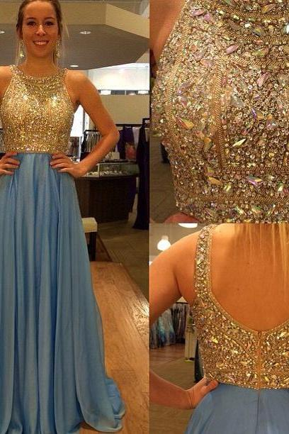 Sexy O-Neck Beading Chiffon Long Prom Dress Custom Made A-Line Evening Gowns 2017
