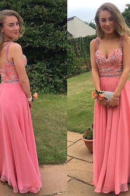 Long Prom Dress 2017 Custom Made A-Line Pink Beading Chiffon Formal Women Evening Gowns