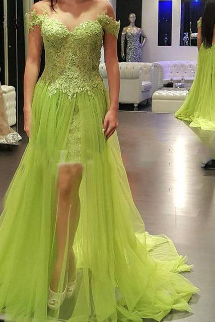 Long Prom Dress 2017 Sweetheart Appliqued Side Split Tulle Backless Off the Shoulder Lace Evening Gowns