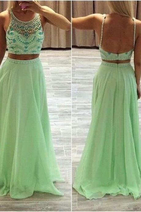 Mint Green Long Prom Dresses Two Pieces Custom Made Beading Chiffon Formal Women Evening Gowns 2017