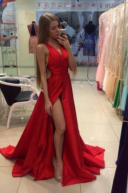Sexy V-Neck Red Long Evening Gowns 2017 Handmade Satin Slit Long Prom Dresses