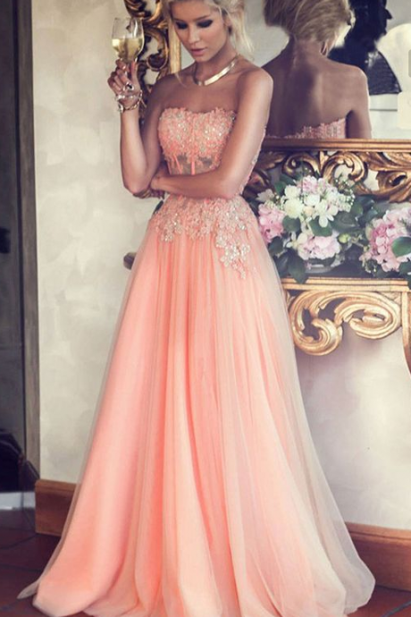 Pink Strapless Long Prom Dress,Beading Chiffon A-Line Evening Gowns,Custom Dresses 2017