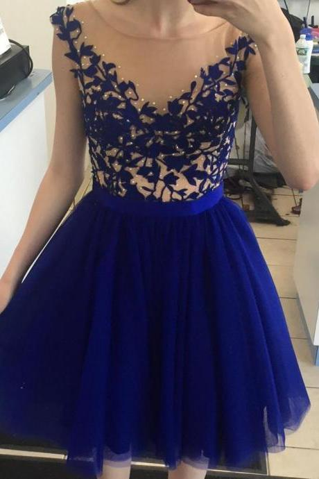 2017 Royal Blue Appliqued Tulle Sleeves A-Line Prom Dress,Short Graduation Dresss,Blue Homecoming Gowns