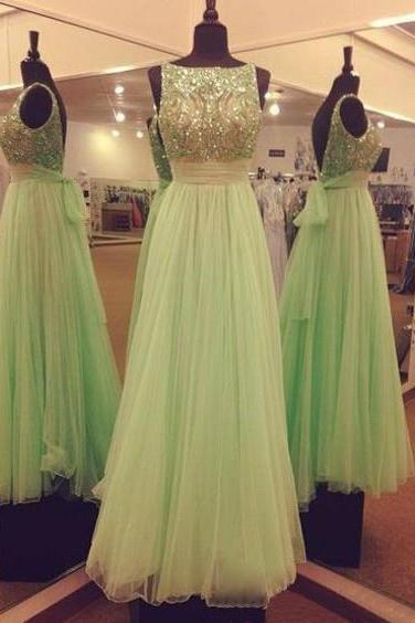 Mint Green Prom Dress,Cap Sleeve A-Line Beading Tulle Long Evening Gowns,Custom Made Formal Women Dresses 2017