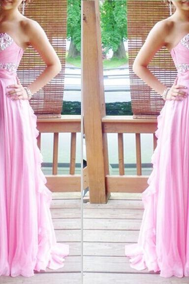 2017 Pink New Beading Chiffon Sweetheart Long Prom Dresses,Custom Made A-Line Evening Gowns