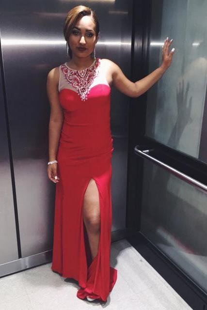 Red Sexy Mermaid Evening Dresses Custom Made Slit Beading Satin Long Prom Dresses 2017