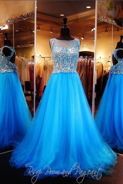 Amazing Cap Sleeve Beading/Crystal Tulle Custom Made A-Line Long Prom Dresses,Evening Gowns,Formal Women Dresses 2017