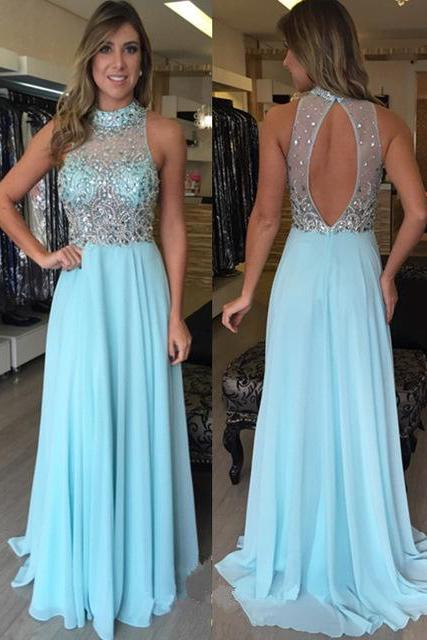 Mint Green Beading Chiffon Long Prom Dresses,2017 Custom Made A-Line Formal Women Evening Gowns