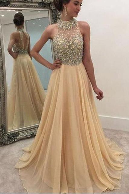 2017 Sexy High Neck Formal Women Evening Gowns,Custom Made Beading Chiffon A-Line Long Prom Dresses