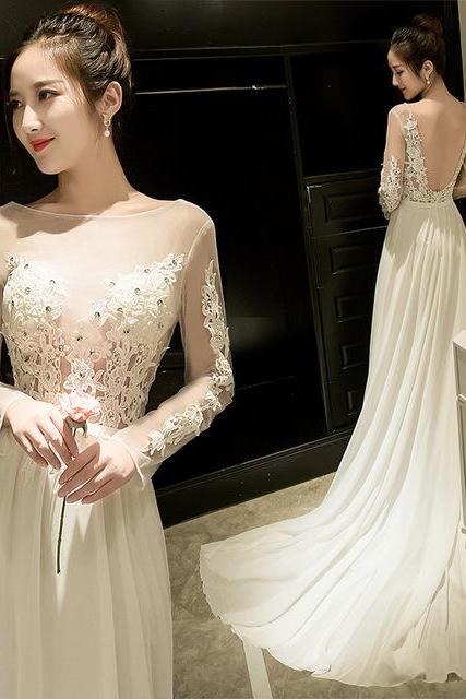 Sheer Lace Appliqués Chiffon A-line Wedding Dress with Long Sleeves, Open Back and Long Train