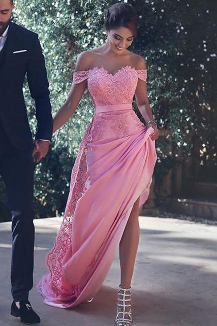 2017 Sexy Lace Prom Dresses Handmade Pink Off The Shoulder Slit Lace Evening Gowns,Long Women Dresses