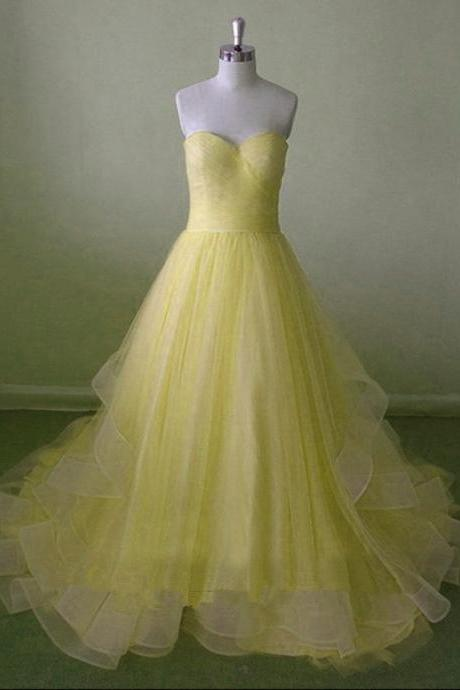 Beautiful Yellow Sweetheart Long Pom Dresses,2017 Prom Dresses,Handmade A-Line Evening Gowns