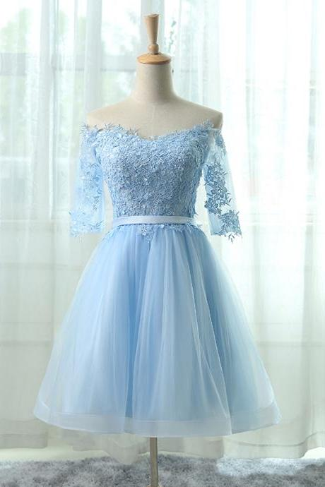 Short Tulle Homecoming Dress Featuring Floral Lace Appliqué Quarter Sleeve Off The Shoulder Bodice