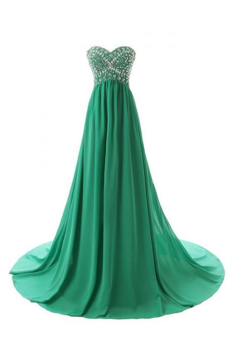 Sweetheart Long Prom Dress,Beautiful Green Beading Evening Gowns,2017 New Women Gowns