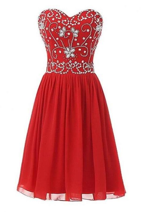 Red Sweetheart Beaded Embellished Short Chiffon Homecoming Dress