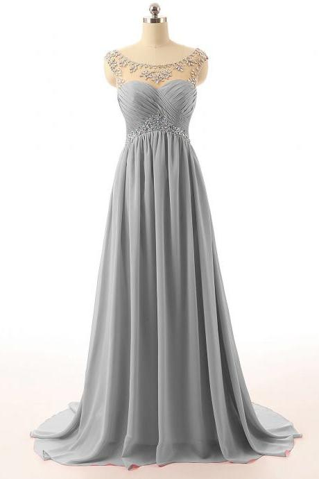 Light Grey Floor Length A-Line Chiffon Prom Dress with Beaded Embellished Cap Sleeves Sweetheart Illusion Bodice