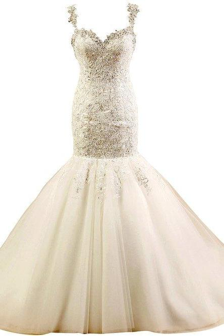 Lace Appliques Sweetheart Shoulder Straps Floor Length Tulle Mermaid Wedding Dress