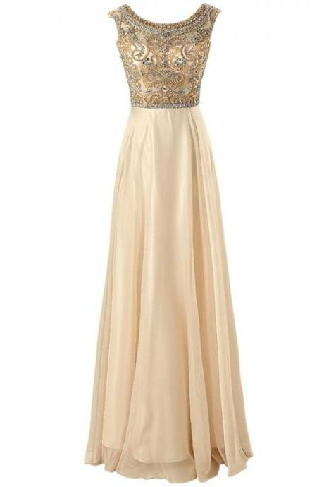 Open Back A-Line Long Chiffon Prom Dress with Beaded Bodice