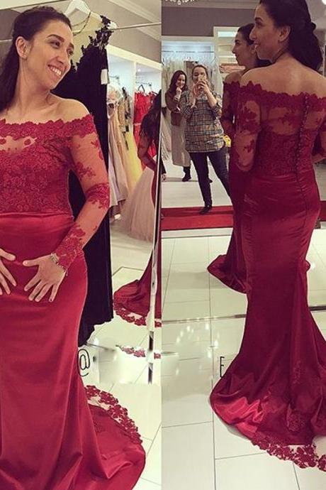 Wine Red Formal Dresses,New Long Sleeves Lace Satin Mermaid Prom Dresses,2017 Fashion Prom Dresses