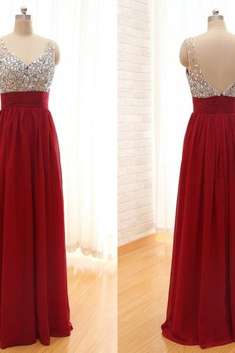 2017 High Quality Red Beading Chiffon Prom Dresses,Red V-neck Prom Dresses,A-Line Sleeveless Formal Evening Dresses