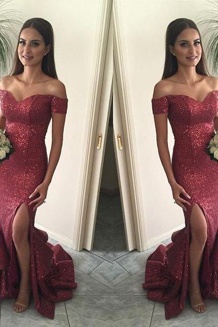 Sexy Sweetheart Sequins Long Prom Dresses,2017 Women Dresses,Mermaid Prom Dresses,Burgundy Dresses