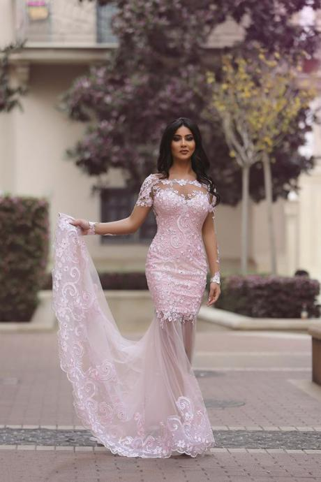 Lace Appliqués Mermaid Long Prom Dress, Evening Dress Featuring Sheer Skirt, Long Sleeves and Sheer Back
