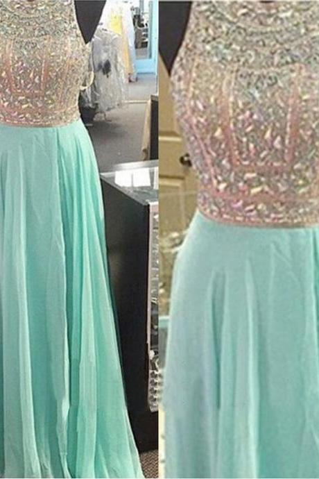 Beading Prom Dresses 2017,Cheap Chiffon Prom Dress,Custom A-Line Formal Gowns