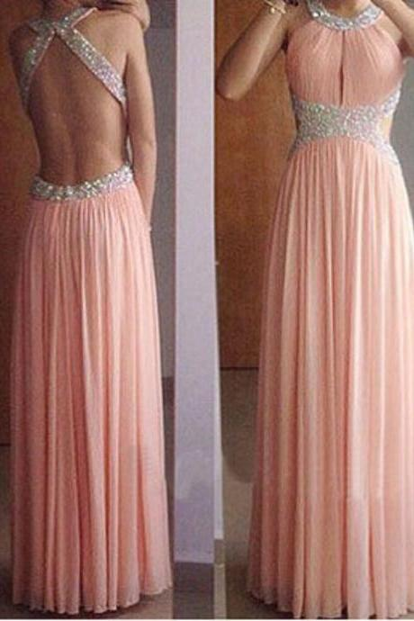 Sexy Backless Beading Chiffon Long Prom Dress Formal A-line Pink Evening/Party Dress 2017