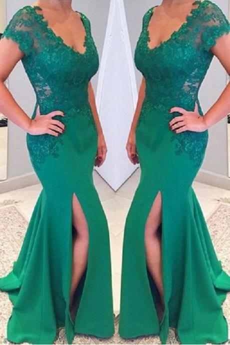 Elegant Appliques Satin Long Prom Dress Mermaid Slit Evening/Party Gowns 2017