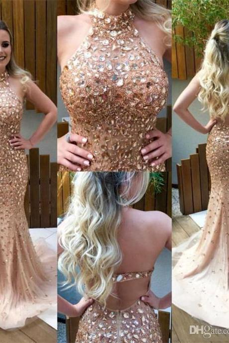 Luxury Ceystal Beaded Prom Dresses Mermaid Style 2017,Trumpet Prom Dresses,Imported Party Dress