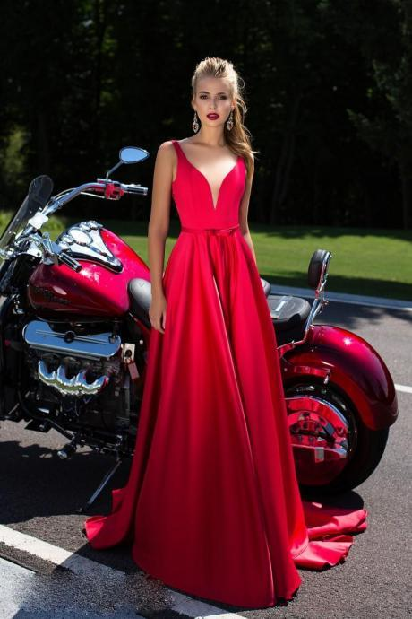 Red Satin Plunge V Shoulder Straps Floor Length A-Line Prom Dress Featuring Lace Mesh Open Back and Sweep Train