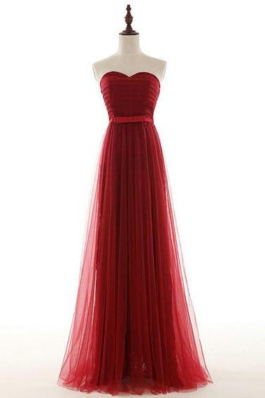 Sexy Burgundy Prom Dresses Long 2017 Sweetheart Tulle A-Line Formal Women Evening Gowns