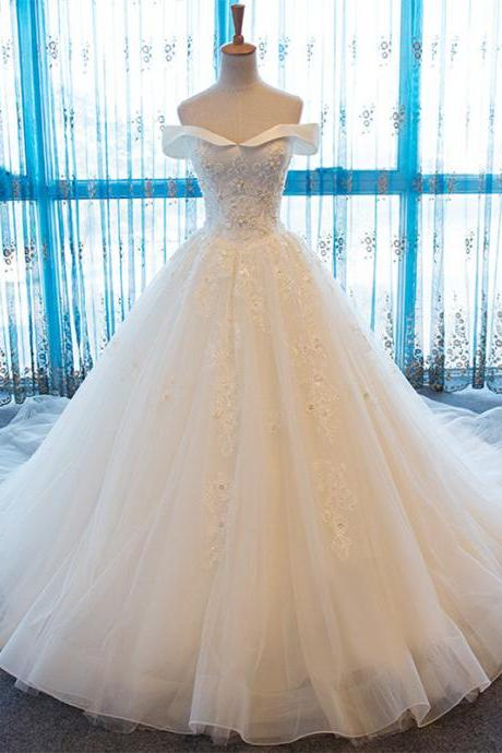 Off The Shoulder Wedding Dresses 2017 Vintage Appliqued Tulle A-Line Handmade Bridal Gowns Vestido De Noiva