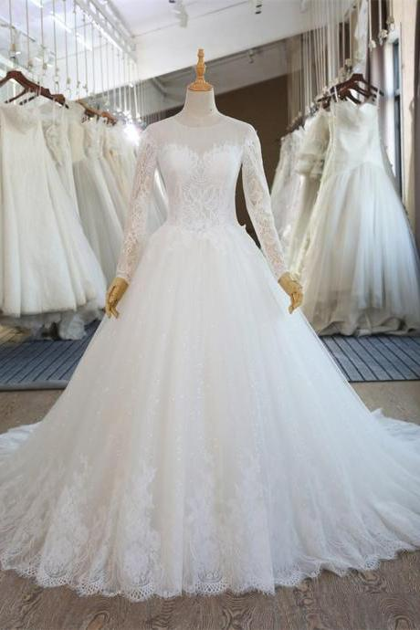 Elegant Long Sleeves Lace Ball Gown Wedding Dresses Sheer Tulle Bridal Gowns Custom Made