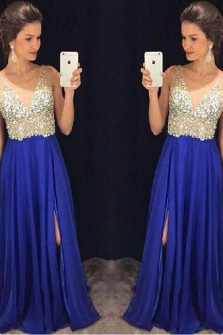 Royal Blue A-line Chiffon Long Prom Dress,Sexy V-neck Slit Sleeveless Prom Dress Custom Made 2017
