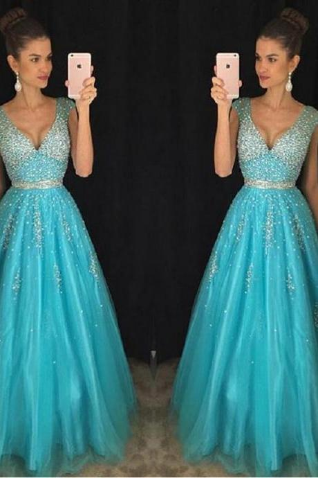 Pretty Beading A-line Tulle Long Prom Dress Sexy V-Neck Backless Prom Dress Custom Made Evening/Party Gowns 2017